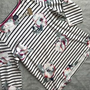 NWT Joules Harbour Jersey Top Cream Poppy Stripe